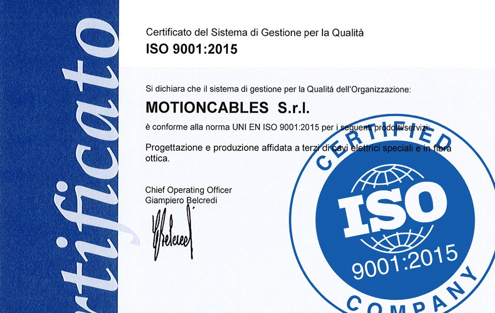 MotionCables has been ISO certified